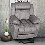 Power Recliner Chair for Elderly, Massage Lift Reclining Chairs with Heat & Vibration, Heavy Duty Electric Plush Fabric Sofa Home Living Room Chairs,Light Gray