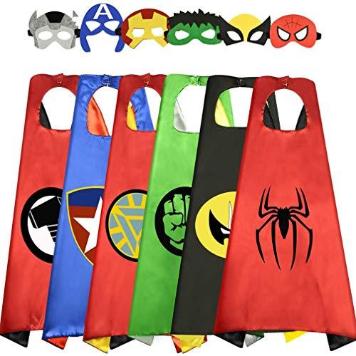 Costumi da Supereroi per Bambini Costumi Carnevale Mantelli e Maschere Giocattoli per Bambini e Bambine 3-12 Anni Costume Cosplay Regalo di Compleanno Bambini