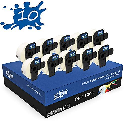 RINKLEE DK-11208 Etiketten kompatibel für Brother P-Touch QL-500 QL-550 QL-560 QL-570 QL-580 QL-700 QL-710W QL-720NW QL-800 QL-810W QL-820NWB QL-1060N QL-1100 QL-1110NWB   38 x 90 mm   10 Rollen