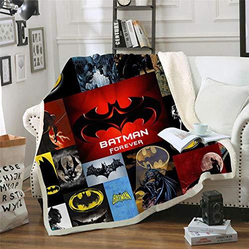 LIFUQING Batman 3D Gedruckt Sherpa Decke Couch Bettbezug Reise Jugend Kinder Bettwäsche Plüsch Wolldecke Tagesdecke Werfen-120x150cm