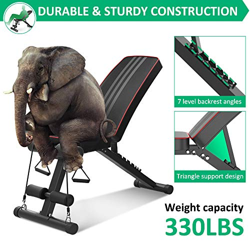 OUNUO Adjustable Weight Bench, 2020 Version Full Body Strength Training Workout Bench Foldable Flat Incline/Decline Bench Press for Home Gym,330LBS Capacity Fitness