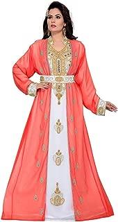 Arabic attire Women's Islamic Abaya Beaded Moroccan Caftan Style Party wear with Waist Belt