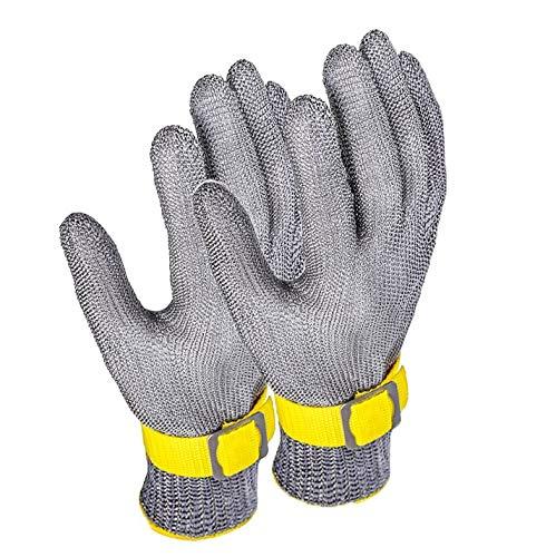 Schnittfeste Handschuhe 2 Stück Anti-Schneidhandschuhe, Sicherheitsarbeitshandschuhe Für Küchenfleischschneiden, Um Austernhaut Zu Entfernen, Mit Einstellbarem Handgelenkband (Size : Medium)
