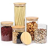 Glass Jars with Lids, Color4day Stackable Glass Food Storage Containers Set with Airtight Bamboo Lid for Kitchen, Glass Containers, Pantry Organization and Storage, Kitchen Canisters Sets, Glass Food Jars, Pantry Jars sets of 5 -- Labels and Pen Included