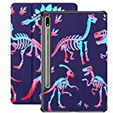 Funda Galaxy Tablet S7 Plus de 12,4 Pulgadas 2020 con Soporte para bolígrafo S, Elegante y empinado Esqueleto de Dinosaurio, Huesos de Dinosaurio Triceratops, Funda Protectora Delgada con Soporte par