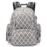 qiqiu Mochila Bebe Bolsa de momia bolsa de bebé multifunción de gran capacidad con patrón de linterna USB-gris Bolso Carrito Bebe