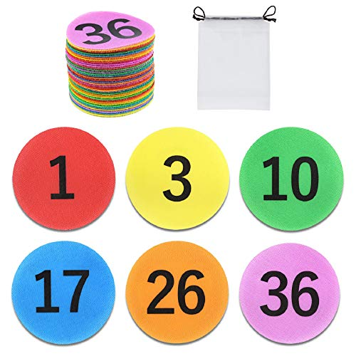 EAONE 36 Pack Sitting Spots with Numbers, Colorful Hook and Loop Classroom Carpet Spot Dot Markers 4'' Circles Markers for Teachers Students Group Activity(Numbers from 1-48, 6 Colors)