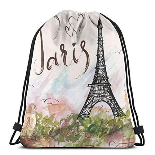 XCNGG Sporttasche Kordeltasche Reisetasche Sporttasche Schultasche Rucksack Eiffel Tower Paris Unisex Drawstring...
