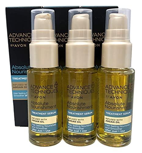 3 x Avon Advance Techniques Nutriente Capelli Siero con Olio di Argan marocchino 30ml