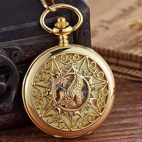 XTQDM Reloj de Bolsillo mecánico Exquisito Hueco Tallado Tacones Altos Femeninos Reloj Grabado Cuerda Manual Fob Wathces Cadena Collar Colgante Oro
