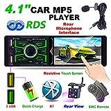 Autoradio Bluetooth MP5 Player, Hoidokly 4,1'' Pouces HD avec écran Tactile, Stéréo Radio de Voiture Lecteur FM/AM/RDS, Support Double Port USB/AUX/TF et Volant Télécommande + Caméra + Microphone