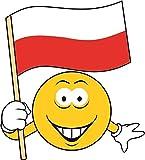 U24 Aufkleber Smily Polen Fahne Flagge Autoaufkleber Sticker Konturschnitt