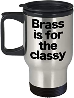 Brass Mug Travel Coffee Cup Funny Gift for Musician Ensemble Quartet Moscow Mule Knuckles Shells