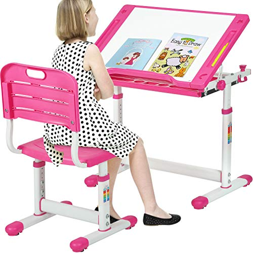 FDW Kids Desk Children Writing Student Desk Drafting Table Height Adjustable Study Table and Chair with Drawers Storage,Pink