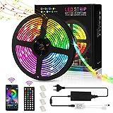 Tira de luces LED de 5 m, RGB 5050, impermeable, Bluetooth 300 LED, tira de luz LED, con iluminación a distancia