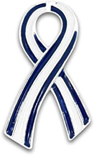 Fundraising For A Cause Flat Blue & White Ribbon Awareness Pin