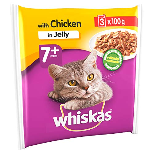 Whiskas Wet food pouches, delicious and tasty selection with chicken in jelly, suitable for cats aged 7+, 42 x 100 g