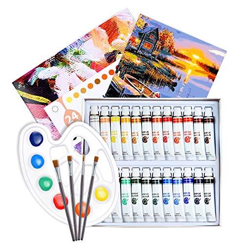 ATMOKO 29 Stück Acrylfarben Set, 24pcs Acrylfarben+3pcs Künstlerpinsel+1pcs Mischpalette+1pcs Leinwand, Perfekt für Leinwand, Holz, Stoff, Ungiftige Acrylfarben Set...