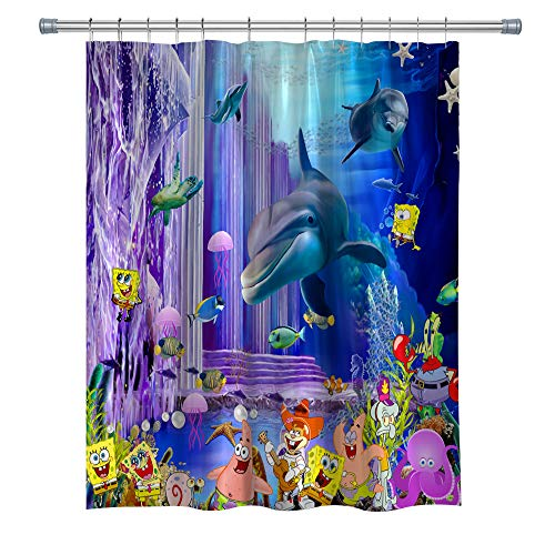 GOODCARE Underwater World Shower Curtain Whale Dolphin Ocean Animals, Machine Washable Polyester Fabric Bathroom Decor Set with Hooks, , 71 x 71 inches
