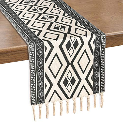 Bateruni Dark Grey Table Runner with Tassels, Geometric Wrinkle Resistant Table Runner for Dining Table Room Party Wedding Banquet Buffet 70x14 Inches