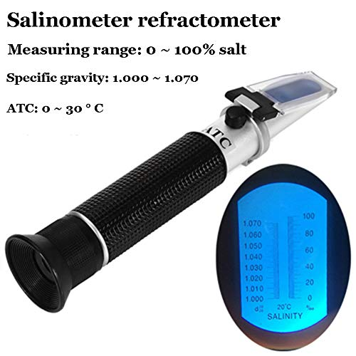 xfy-01 Saliniteit Refractometer, 0-100% Handheld Refractometer met ATC, Zoutwater Test Kit voor Zeewater, Zwembad, Aquarium, Vistank