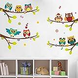 WandSticker4U– Adhesivo Pared 9 búhos sobre rama | Decoración Pared: 120x100 cm | Árbol Flores Pájaro Mariposas | Wall Stickers Ventana para pared de bebé habitación dormitorio infantil gran