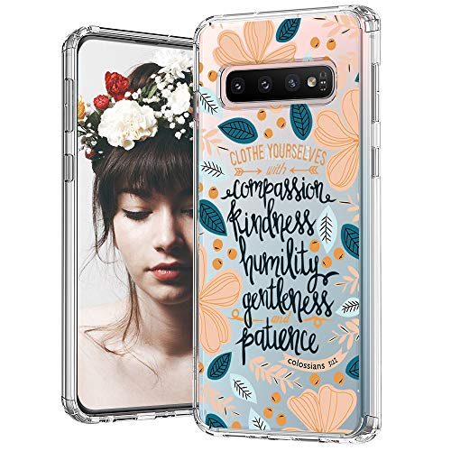 MOSNOVO Galaxy S10 Case, Floral with Flower Quote Pattern Clear Design Printed Transparent Plastic Back Phone Case with TPU Bumper Protective Case Cover for Samsung Galaxy S10 - Cloth Yourselves