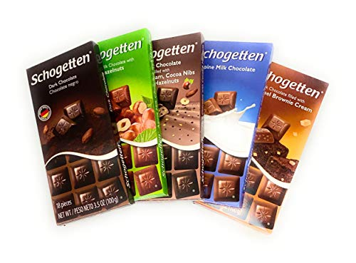 Schogetten German Chocolate Variety Pack Bundle of 5 Bars for the Holidays