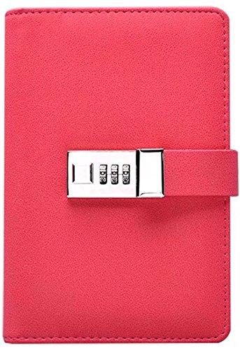 Binder Journal with Combination Lock (Binder Diary with Combination Lock), Size: 18.5cm X 13.5cm. PU Leather Multi Color Combination Lock Journal (Combination Lock Diary) (Deep Pink)