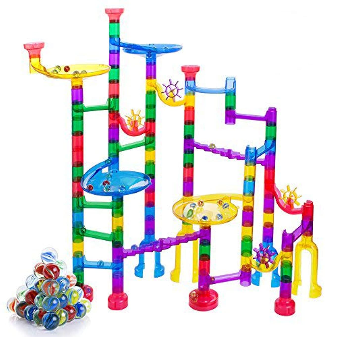 Gifts2U Marble Run Sets Kids, 122 PCS Marble Race Track Game 90 Translucent Marbulous Pieces + 32 Glass Marbles, STEM Marble Maze Building Blocks Kids 4+ Year Old l87350784