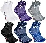 Rainbow Socks - Donna Uomo Colorate Calze Sportivi di Cotone - 6 Paia - Bianco Porpora Grigio Blu Marina Nero - Taglia 42-43