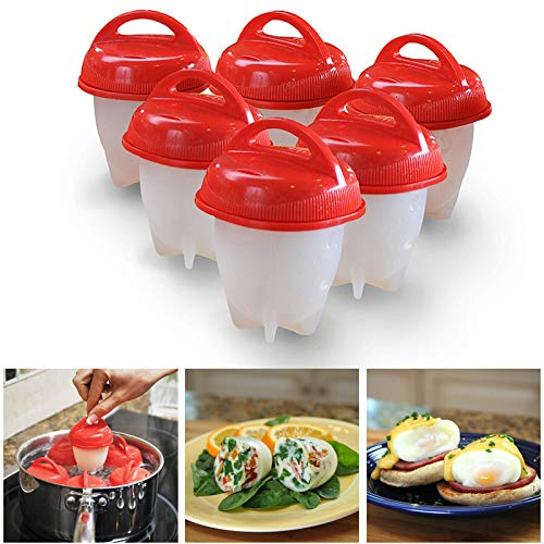 NEWSIHUI 6 Stück Eierkocher, Silikon-Antihaft-Eierkocher, BPA-frei, Eierkocher Silikon, Eierbecher, Eierwilderer