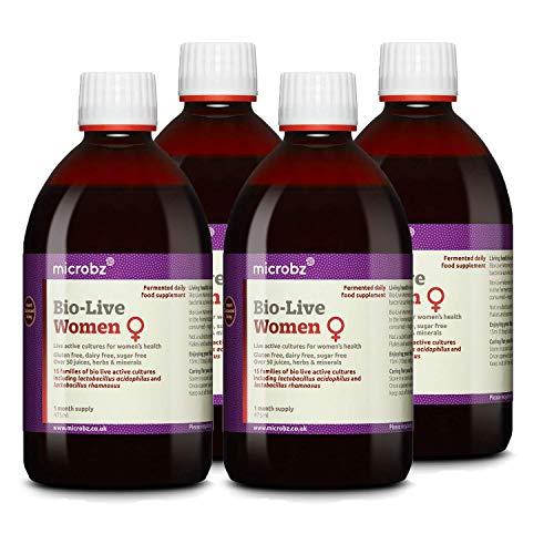 Microbz (Quad Pack) Bio-Live for Women (475ml) Bio Cultures Probiotic Liquid Supplement - Multi Strain Fermented Liquid Formula with Bio Live Active Natural Cultures for Everyday Oral Use