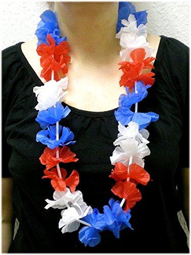 Sportfanshop24 Blumenkette/Hawaiikette/Halskette - rot-weiß-blau (Frankreich, Niederlande, Russland, Kuba, USA, Tschechien, Slowakei, Slowenien.) - Umfang zirka 100cm (1m)