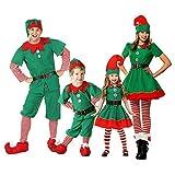 Xingsiyue Disfraz de Elfo para Navidad, Halloween Carnaval Cosplay Familiares Traje de Navidad Unisexo Disfraz de Duende