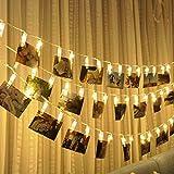40 x Cadena de luces LED con pilas, temporizador, para interior y exterior, con mando a distancia, pinzas para fotos, habitaciones, decoración, cumpleaños, resistente al agua