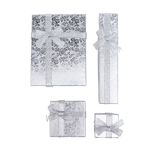 RKC Jewelz x 4 Pcs Mixed Size Set of Beautiful Sparkling Ribbon Jewellery Gift Boxes for Necklace Bracelet Earrings Charms Wholesale Sets (Silver)