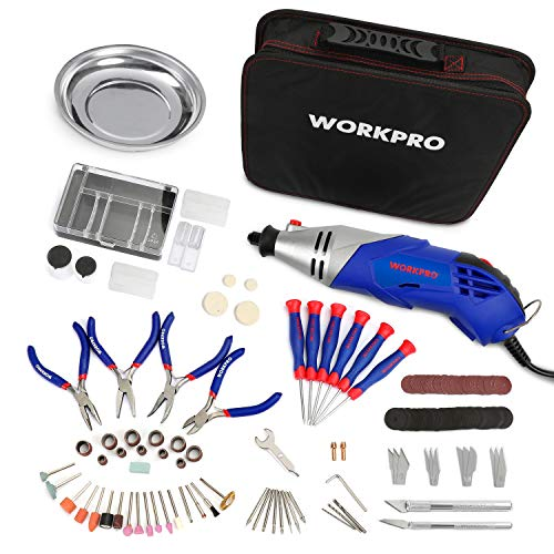 WORKPRO Multi-function Rotary Tool Kit Variable Speed with Universal Fitment Accessories and Precision Pliers and Screwdrivers Set 152 pcs