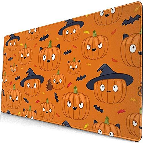 Halloween Pamkin Patroon met snoepjes en vleermuizen muismat Mousepad Mouse Mat Anti-lip Rubber Duurzaam