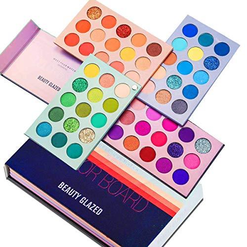 美しさは60色のメイクアップアイシャドウパレット4で1色ボードプレスキラキラアイシャドウ4層5月回転マット真珠光沢の高い着色された化粧品アイシャドウ