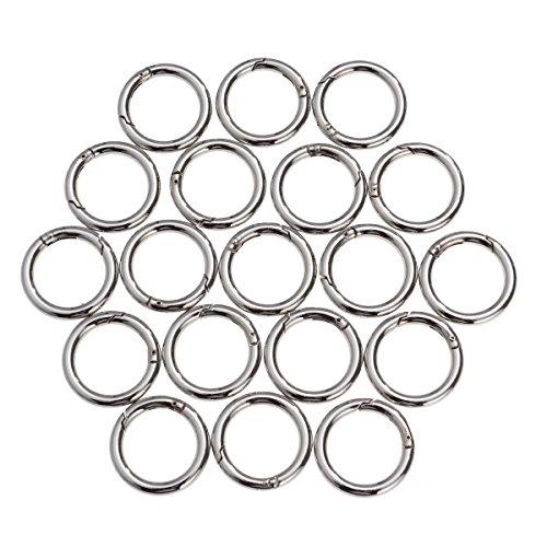 ULTNICE 20 Stück Runde Karabinerhaken Schlüsselanhänger Sprung Ringe (Silber)