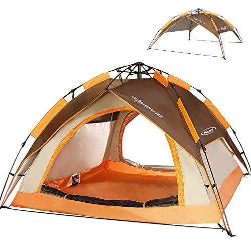 ZOMAKE Zelt für 2 3 Personen,Wasserdicht Kuppelzelt Camping Automatik Sekundenzelt,Outdoor Festival Zelt (Braun)