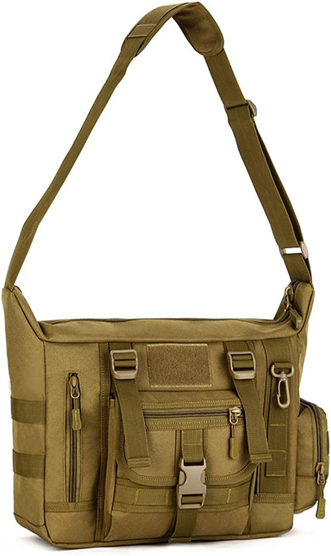 Tactical Crossbody Messenger Bag Molle Large Waterproof Laptop Pack HaversackBlack