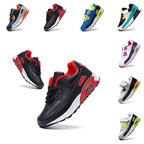 Zapatos Deporte Niña Niños Zapatillas de Correr Cordones Gimnasio Calzado Ligero Antideslizante Transpirable 1-Negro EU 30