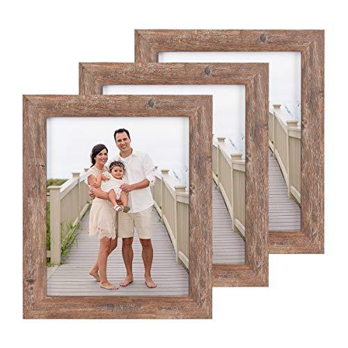 Alishomtll Bilderrahmen 3er Set 20x25 cm Holz MDF für Foto Bilder, Fotorahmen Fotogalerie Portraitrahmen Rahmen Frame Braun
