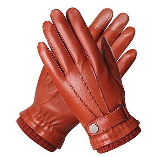 Men's Texting Touchscreen Winter Warm Nappa Leather Daily Dress Driving Gloves Wool/Cashmere Blend Cuff (8, Saddle Brown (Fleece Lining))