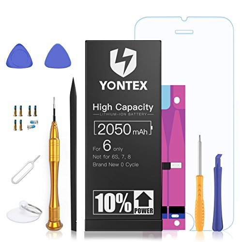 2500mAh Battery Compatible with iPhone 6, YONTEX High Capacity Lithium ion Replacement Battery with Repair Tool Kits and Screen Protector - 38% Higher Capacity