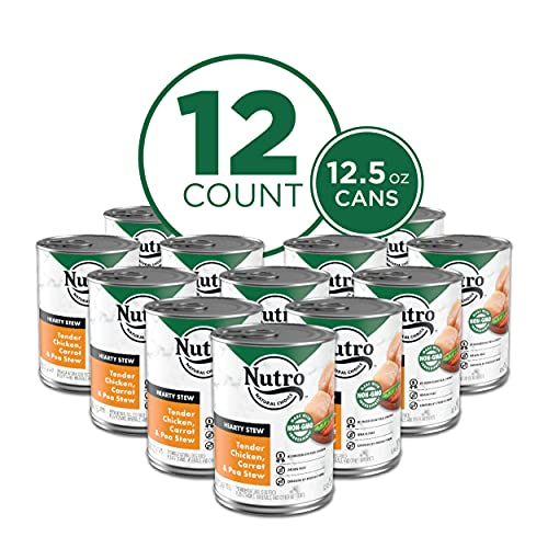 NUTRO HEARTY STEW Adult High Protein Natural Wet Dog Food Cuts in Gravy Tender Chicken, Carrot & Pea Stew, (12) 12.5 oz. Cans
