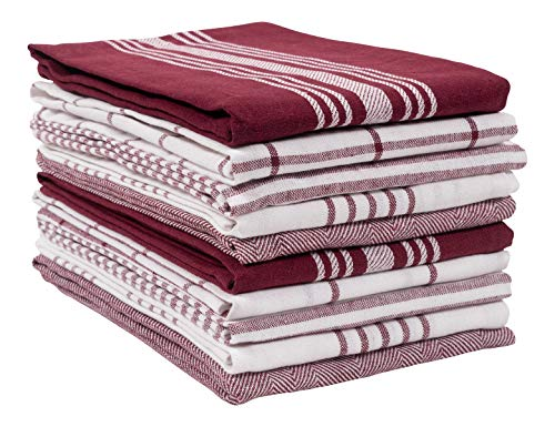 KAF Home Soho Kitchen Dish Towel Set of 10 | 18 x 28 Inch Tea Towels | Soft and Absorbent Mixed Set of Flat Towels (Oxblood)