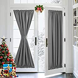 professional Gray Door Curtain PONY DANCE – Insulated Rod Pocket Blackout Privacy French Door Panel…